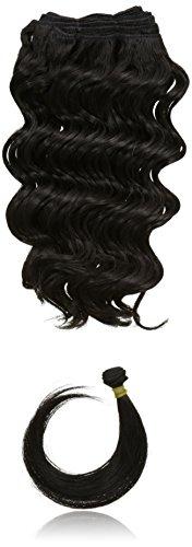 chear Français vague trame Extension de cheveux humains avec de mélange tissage, numéro 1b, Off Noir), 30,5 cm