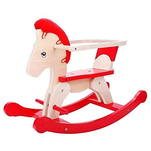 XWX Hölzerne Pferd Weisheit Kinder Dual-Use Rocking Horse Baby Spielzeug Schaukelstuhl Massivholz Baby Geburtstagsgeschenk