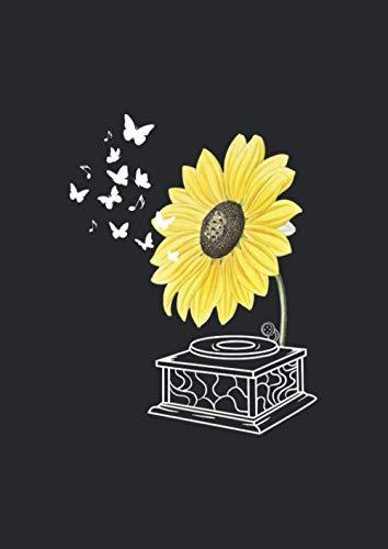 A4 Notizbuch liniert mit Softcover Design: Sonnenblumen Plattenspieler Schallplatte Blumen Musik: 120 linierte DIN A4 Seiten