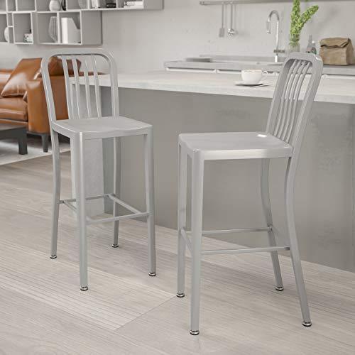 Flash Furniture Juego de 2 taburetes de bar, metal, uso interior y exterior, 76.2 cm de alto, respaldo de tablillas verticales, calidad comercial, color Plateado