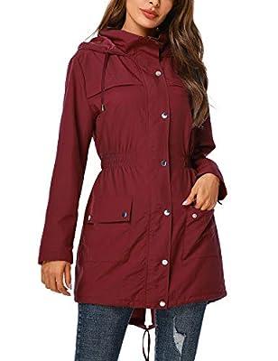 UUANG Rain Jacket Women Waterproof with Hood Outdoor Raincoat Active Lightweight Jacket Wine Red,XL