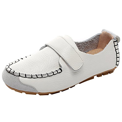 rismart Boys Girls Classic Flat Heel Hook and Loop Slip-on Oxford Loafers Shoes