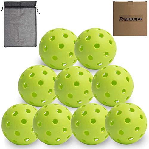 Papepipo Pickleball BallsPickleball BallPack of 9 Bright PickleballsOutdoor Indoor PickleballsPremium Specifically Designed and Optimized for Pickleball with Mesh Bag 9PACK Outdoor All Green