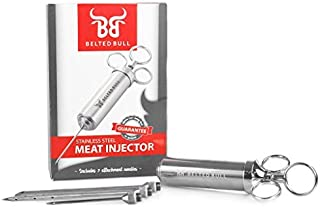 Belted Bull Stainless Steel BarbecueMeatInjector Syringe- BBQInjectorPump with 2-oz High Capacity Chamber –304 Grade Steel– Three Needles for Liquid or Chunky Marinades and Rubs - Cajun Injector