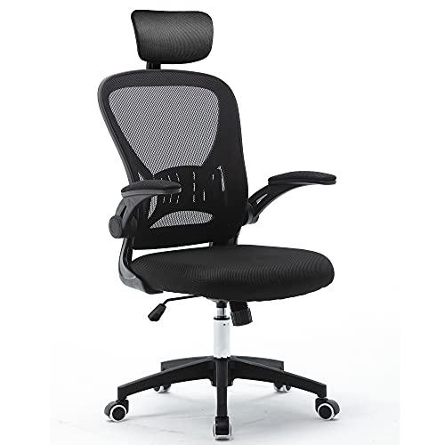 Silla de oficina ergonómica con reposacabezas ajustable y reposabrazos plegable, altura regulable y función de balancín, respaldo agradable, silla de oficina hasta 150 kg (negro)