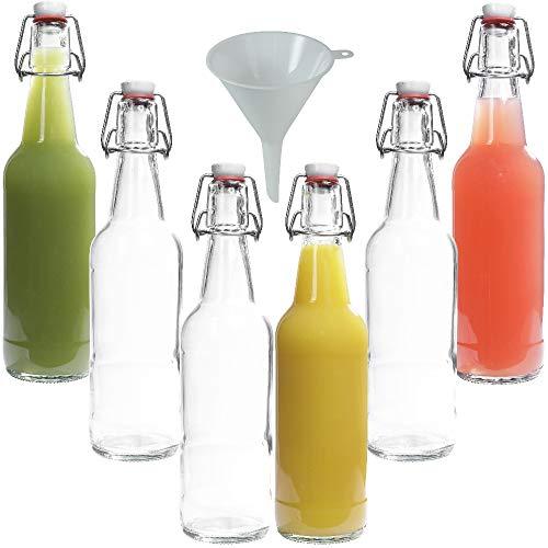 Viva Haushaltswaren - 6 x Glasflasche 500 ml mit Bügelverschluss aus Porzellan zum Befüllen, als Milch-, Saft- und Likörflasche verwendbar (inkl. Trichter Ø 9,5 cm)