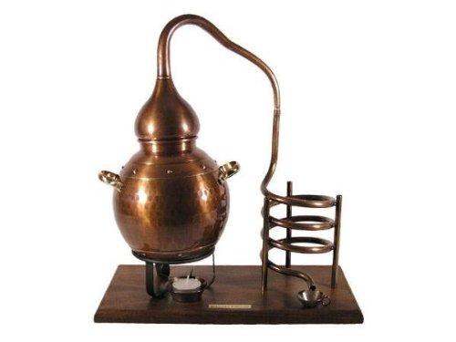 CopperGarden® Flaschenhalter Alembik - 2 Liter Destille zur Dekoration - Kupfer oxidiert - zur stilvollen Präsentation von Wein und edlen Bränden