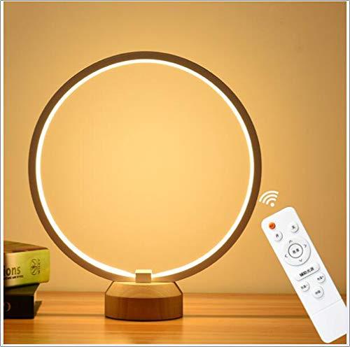 Moderne LED-Tafellamp, Cirkel Nachtkastje Lamp Met Afstandsbediening En 3 Dimbare Kleurtemperaturen, Eye-Care Bedside Reading Light, Met USB, White,Remote control version
