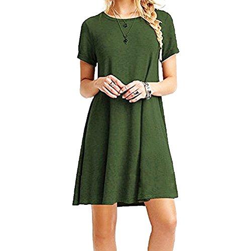 ZNYSTAR Mujeres Verano Vestido De Camiseta Suelto Casual Cuello Redondo Mangas Cortas Vestidos (L, Ejercito Verde)