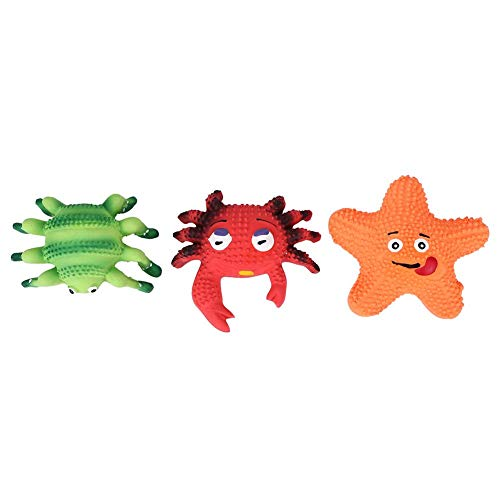 Wchiuoe 3PCS Pet Dog Cats Toys Squeak Latex Crab Spider Starfish Puppy Dogs Chew Toys Pet Supplies Best Pet Dog Chew Toy for Dog