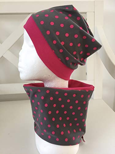 Beanie Set Loop Kinder Punkte pink Mütze grau Kinder