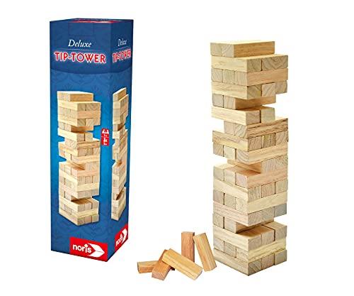 Noris 606101020 – Tip Tower – Spannendes Geschicklichkeitsspiel für die ganze Familie – Turmhöhe 27,5 x 8 cm, ab 5 Jahren
