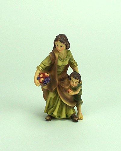 Krippenfigur Magd mit Kind für Weihnachtskrippe, 12 cm, Polyresin, Handbemalt
