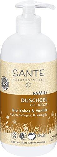 SANTE Naturkosmetik Duschgel Bio-Kokos und Vanille, Tropischer Duft, Reinigt sanft gründlich, Vegan, Bio-Extrakte, 500 ml