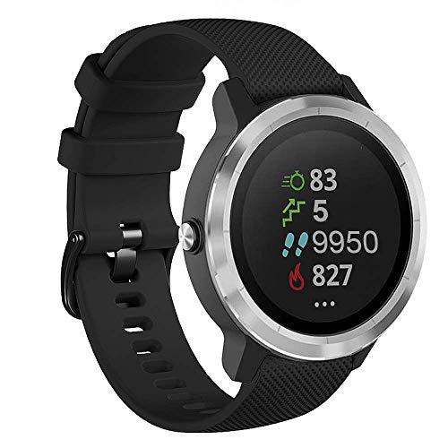 Onedream Correas Compatible para Garmin Vivoactive 4, Compatible con Samsung Galaxy Watch 3 45mm, Pulsera de Repuesto Band Deportivo Correa del Reloj Silicona Accesorios 22mm, Negro (Sin Reloj)