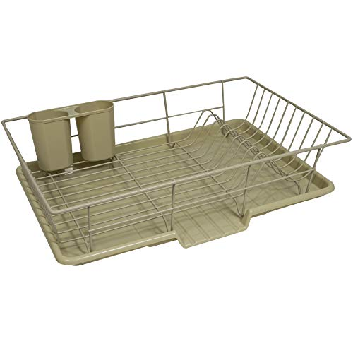"""Sweet Home Collection 3 Piece Dish Drainer Rack Set with Drying Board and Utensil Holder, 12"""" x 19"""" x 5"""", Sage"""