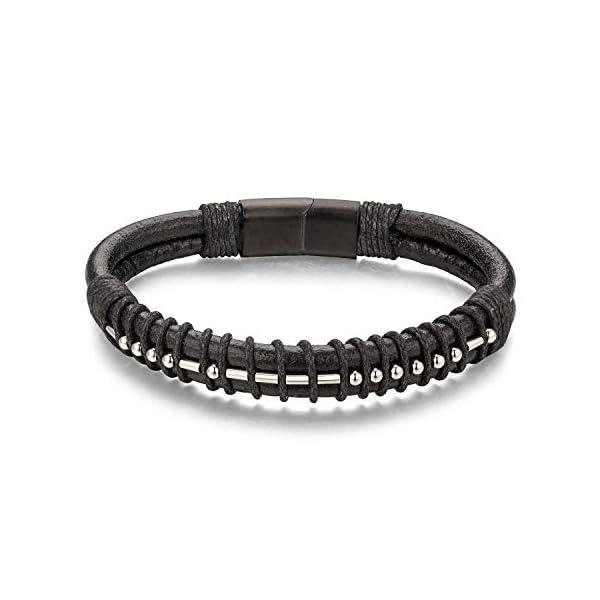 Brother Morse Code Mens Leather Bracelet 1