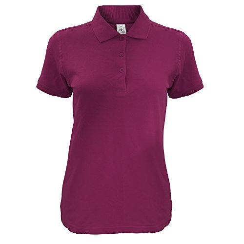 B&C Damen Women's Safran Timeless Polo Poloshirt, Rot (Burgundy 000), 40 (Herstellergröße: Large)