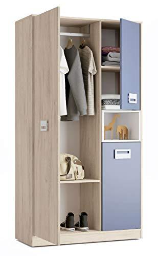 Miroytengo Armario 3 Puertas 1 Hueco Lims habitacion Juvenil Dormitorio Estilo Infantil Blanco Azul Roble 190x100x50 cm