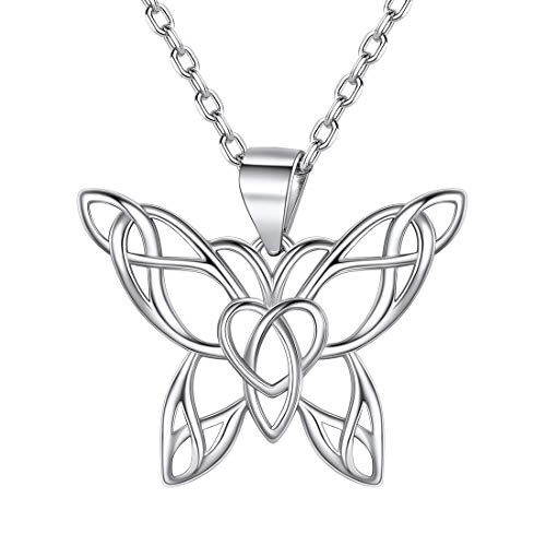 ChicSilver 925 Sterling Silver Butterfly Necklace for Women Girls, Dainty Heart Irish Knot Celtic Jewelry Gift for Girlfriend Wife Mother Daughter Friends