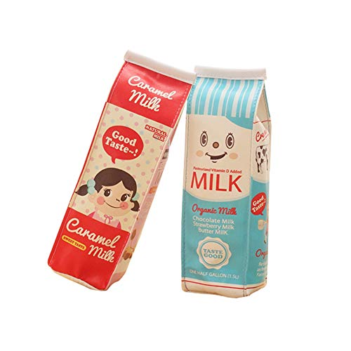 Funny live Creative Milk Cartons Pencil Case Waterproof PU Pen Bag Pencil Holder Stationery Organizer (Set of 2,Two Bags)