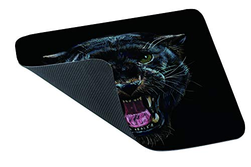 Yeuss Leopard Head Mouse Pad Rectangular Non-Slip Mousepad, Roaring Black Panther On Black Background Digital Painting Gaming Mouse Pads, Black,200mm x 240mm Photo #4