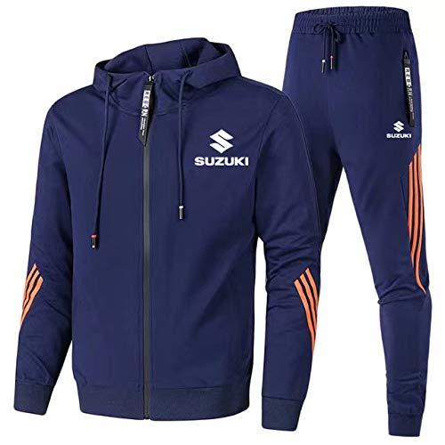 Gyulyaydin Uomo Tuta Sportiva da Jogging Su.zu-ki.s Zip Giacca con Cappuccio + Pantaloni Cappotto/Marina Militare/M sponyborty