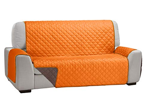 Martina Home Martina Dual Cover Cubre Sofá Acolchado Reversible Naranja/Marrón 3 Plazas