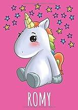 ROMY: Kawaii Einhorn Anime Comic Manga Kritzelbuch und Malbuch personalisiert mit Namen Romy - Skizzenbuch A4 Blanko - Ide...