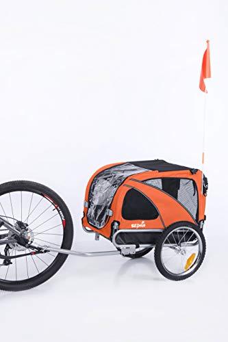 Sepnine & Leonpets Dog cart of 2 in1 Medium pet Dog Bike Trailer Bicycle Carrier and Jogger 10201 Orange