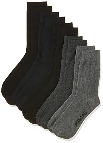Jack & Jones JACJENS Sock 10 Pack Noos Chaussettes, Gris foncé/détails : dgm – Lgm – Lgm – Black – Black – Black – Black Navy – Black Navy, Unique Grande Taille Homme