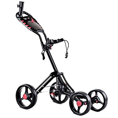 Tangkula Golf Push Cart 4 Wheels Folding with Umbrella Scorecard Drink Holder Golf Pull Cart