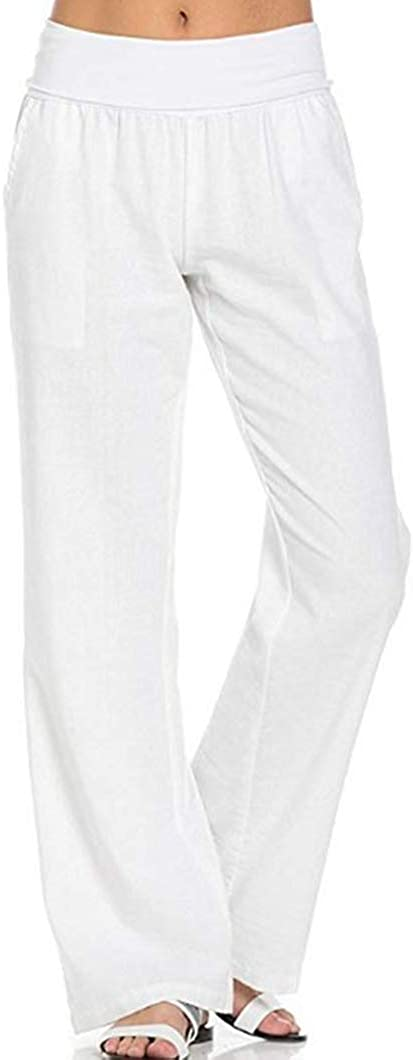 Duyang Women's Comfort Elastic Waist Cotton Linen Pants Casual Wide Leg Flax Pants