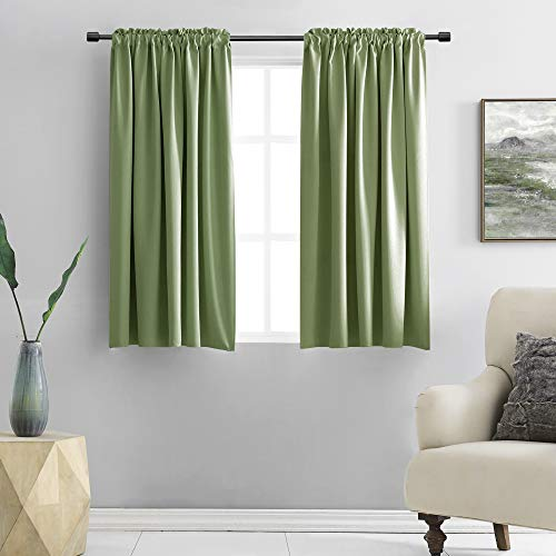 DONREN Sage Green Curtains for Bedroom - Blackout Thermal Insulated Curtain Panels with Rod Pocket (42 by 45 Inch,2 Panels)