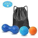 Boules de massage,GVOO 4Pcs Set de 3 balles de massage différentes Boule de Massage...