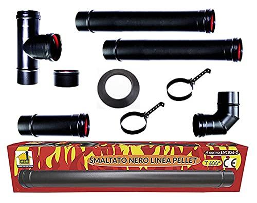 kit tubi stufa a pellet canna fumaria dn 80 tubo acciaio smaltato nero 600 CE Made in Italy porcellanata MD0A