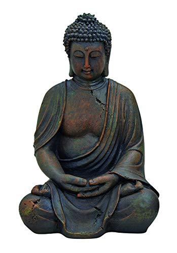 WOMA Deko Buddha Figur Garten Sitzend aus Wetterfestem Polyresin, Dekoration für Haus, Wohnung und Garten, 30cm hoch, Skulptur für Innen und Außen, Braun
