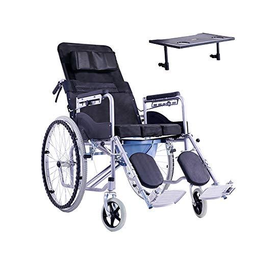 Wheelchair H-Rollstuhl Faltrollstuhl Klapprollstuhl, Stahl, langlebig, for ältere Menschen mit Behinderung,Kleiner Esstisch Eigenantrieb (Size : Oxford Cloth)