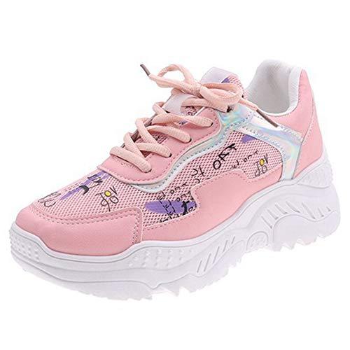 CELNEPHO - Zapatillas deportivas para mujer, diseño de arco iris, con cordones, color Rosa, talla 39.5 EU