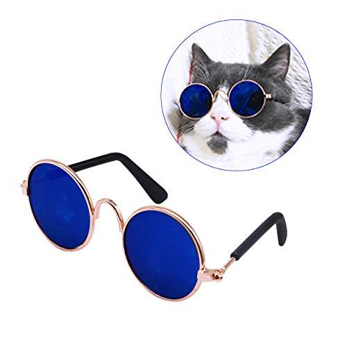 YAODHAOD Pet Dog Cat Gafas de Sol, Classic Retro Round Metal Prince Princess Gafas de Sol Puppy Katie Photo Props Toys (Paquete de 2) (8CM, Azul)