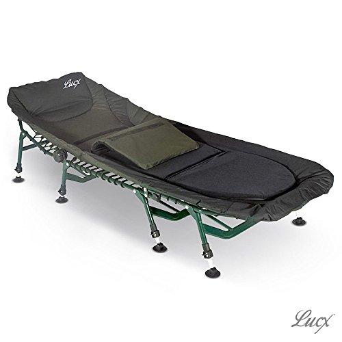 Lucx® Bedchair Komfort/Angelliege/Karpfenliege / 8 Beine Liege mit Matratze/Gartenliege Maße (L/B/H): 210 x 85 x 38 cm