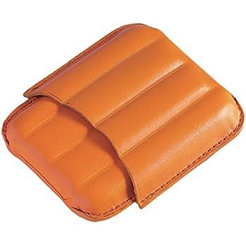 EGOIST - Portammezzato I Porta Sigari In Vera Pelle I Capienza 4 Sigari Ammezzati I Disegno Elegante I Portatile I Accessorio Per Sigari - Arancione