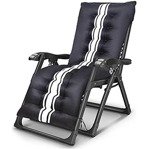 CHLDDHC Sillón reclinable, sillón de Playa reclinable Plegable y Ajustable Sillón de jardín con Cojines Carga máxima: 250 kg, Negro Blanco