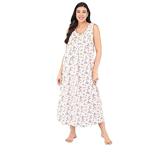 Shararat Women's Cotton Sleeveless Nighty/Sleeveless Night Gown - Free Size (Orange)