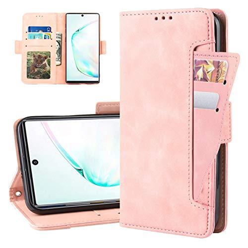 Galaxy Note 10 Pro Schutzhülle für Samsung note10plus note10pro Hüllen Geldbörse Kartenhalter Ständer für Note 10plus 10pro 10+ gaxaly glaxay PU Leder Flip Magnet Bumper 16,8 Zoll, Rose