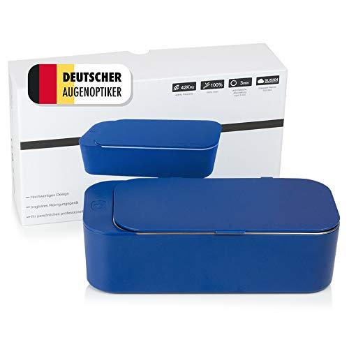NEU: Mini Ultraschallreinigungsgerät, Ultraschallreiniger 450ml für Brillen – Ultraschallgerät inkl. 50ml Konzentrat – Deutsche Anleitung (Blau)