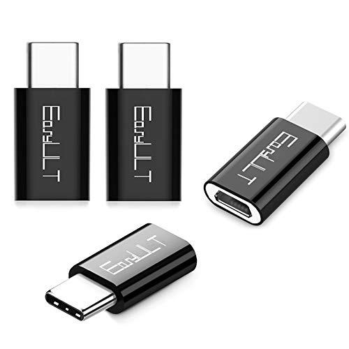 EasyULT Adattatore USB C a Micro USB [4 Pack], USB C Adapter USB Type C Adattatore Connettore per Galaxy S8/S8+,Huawei P10 Plus/Honor 8,LG G6 e Altri Dispositivi USB C (Nero)