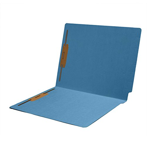 11 pt Color Folders, Full Cut 2-Ply End Tab, Letter Size, Fasteners Pos #1 & #3, Blue (Box of 50)