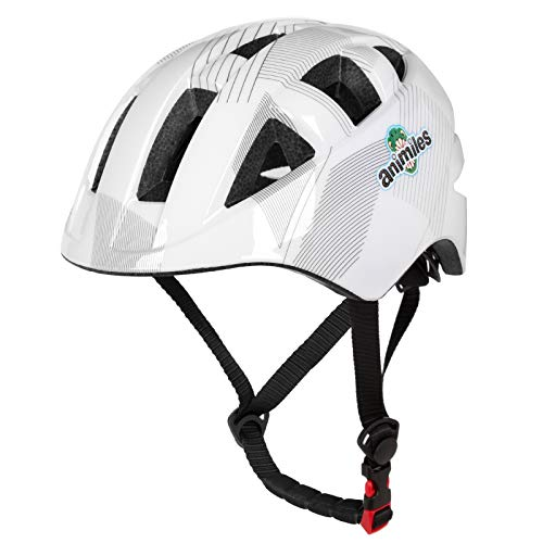 ANIMILES Kids Bike Helm, Kleinkindhelm Einstellbare Belüftung Schlagfestigkeit für Kinder 3-5/5-8 Jahre, Jugend Jungen Mädchen… (Weiß)