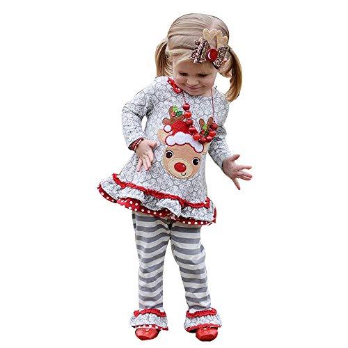 MEIbax Babykleidung Mädchen Weihnachtenkleidung MEIbax Kleinkind scherzt Baby Weihnachtshirsch T-Shirt Spitzen Streifen Hosen Prinzessin Outfits